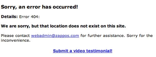 Zappos error