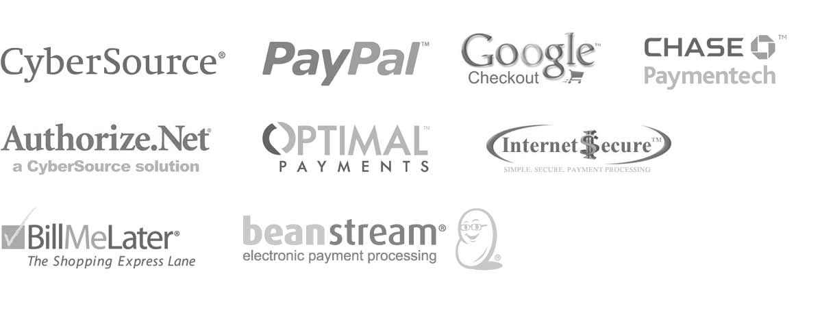 Ecommerce Payment Providers - CyberSource, PayPal, Google Checkout, Chase, Authorize.net, Optimal, Internet Secure, Bill Me Later, Beanstream
