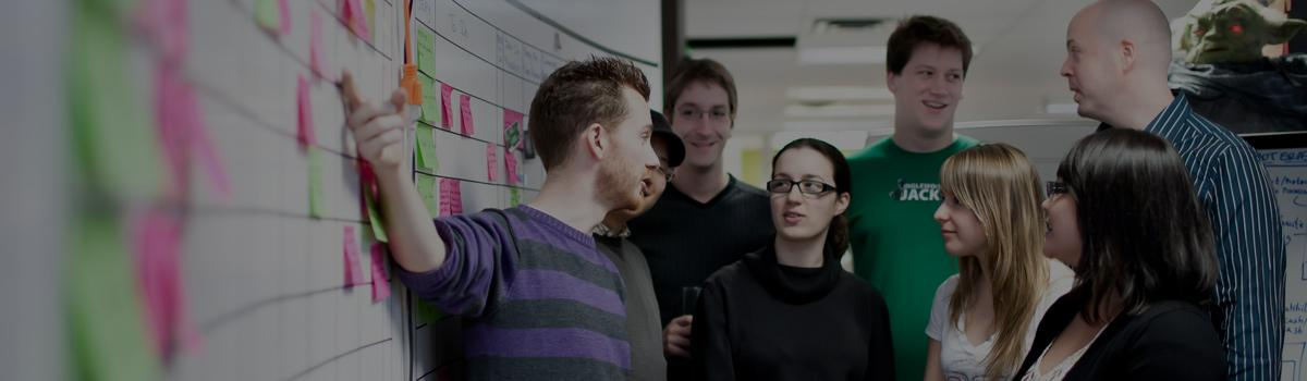 Group of people discussing an ecommerce framework