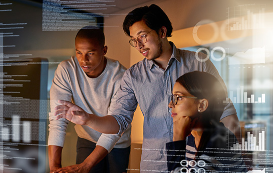 Three people with hologram screen